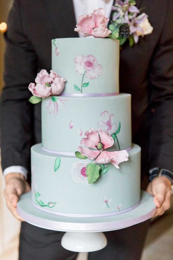 Monet Inspired Wedding Cake in Blue with pink painted and sugar flowers