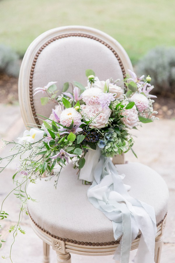 Woman With A Parasol by Monet Inspired Wedding Bouquet in Pastels on Cream Chair