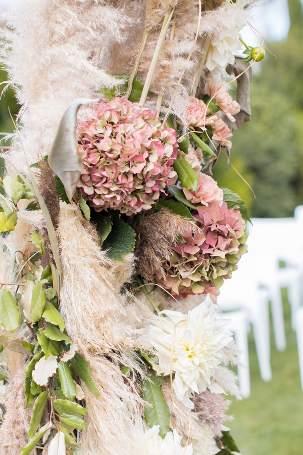 Fall Wedding Floral Arrangement for arch at Domaine des Moures