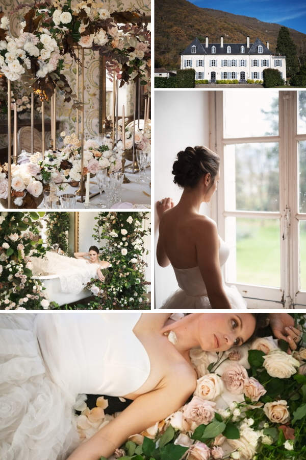 Collage of Organic Wedding at Chateau Siradan PhotoShoot