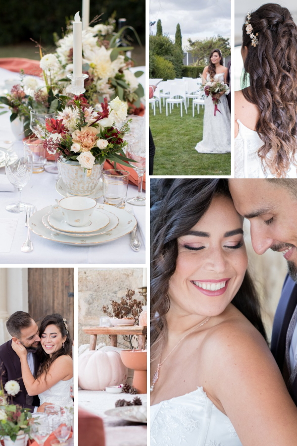 Fall Wedding at Domaine des Moures Collage