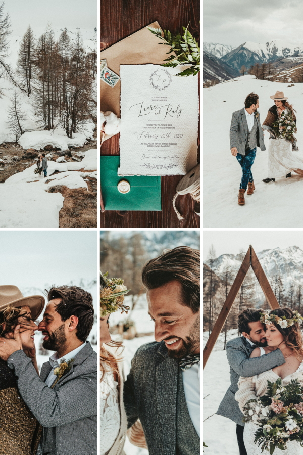 Snowy Vow Renewal In The French Alps Collage