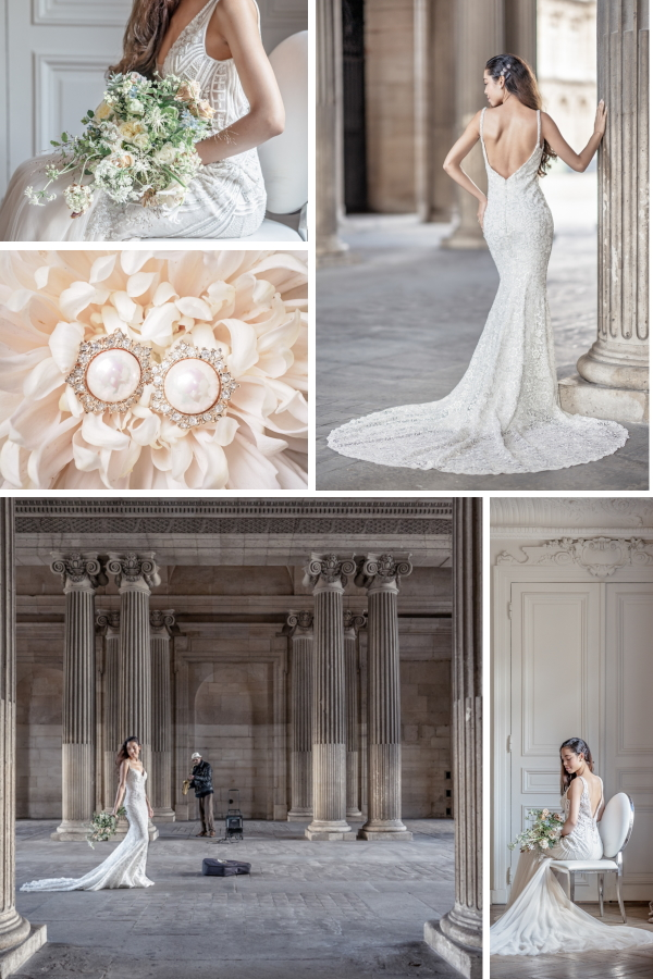 Parisian Bridal Beauty in the City of Love Collage