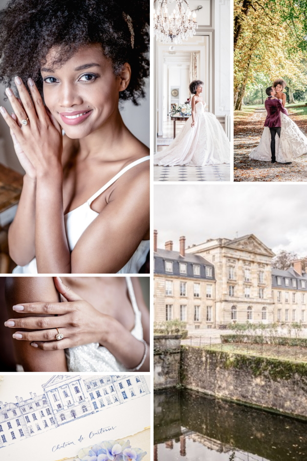 Wedding Dress Inspiration at Chateau de Courtomer Collage