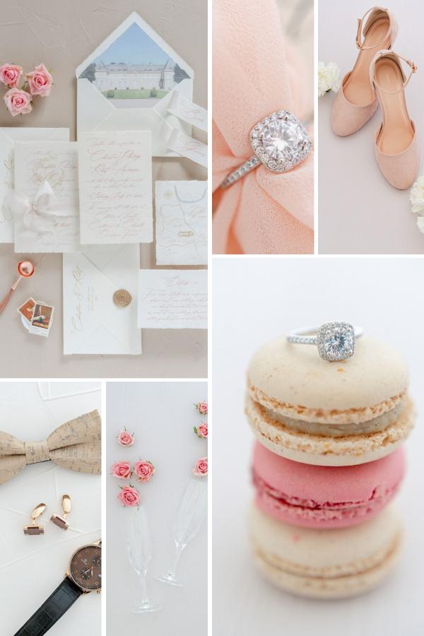 Flat Lay Photography - Pastel Romance Wedding Inspiration Collage