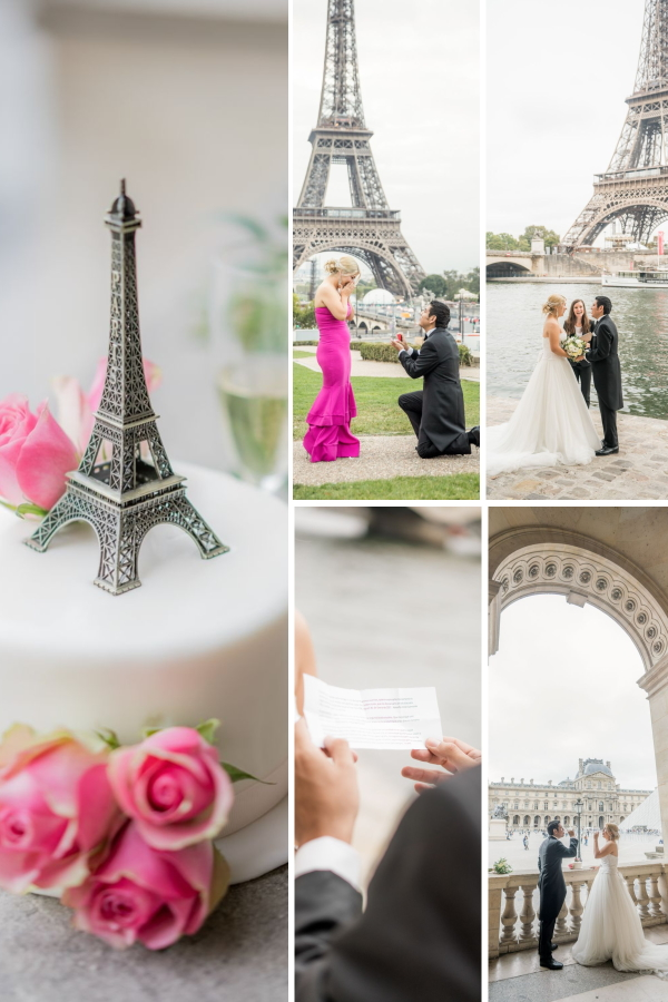 Collage of Surprise Engagement and Wedding in Paris