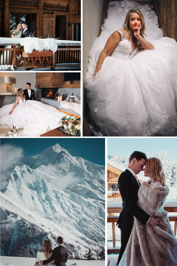 collage of 5 images from a Magical Alpine Village Wedding In Saint-Nicolas de Véroce
