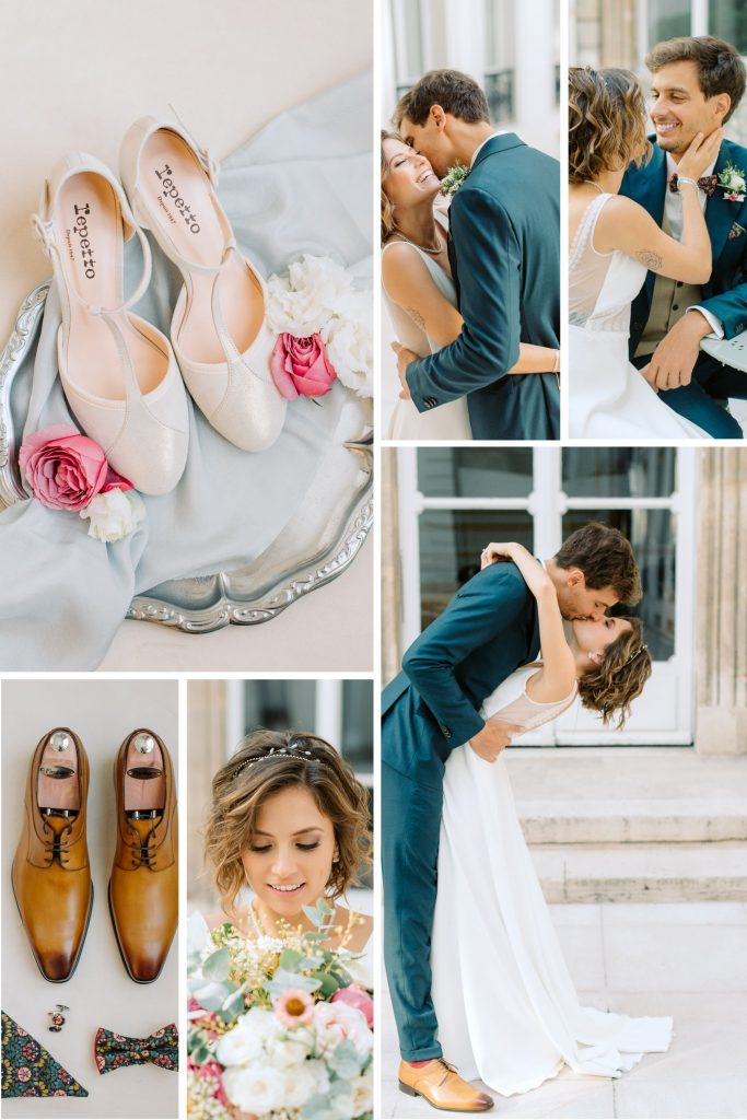 Collage of images from real wedding shoot titled A Stunning View of Paris Set the Backdrop for this French-Mexican Wedding