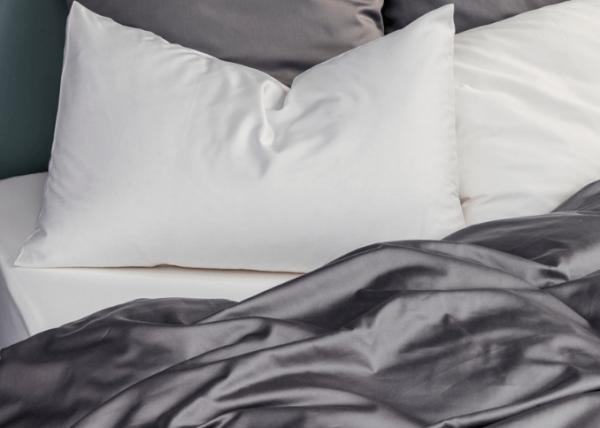 La Chambre Paris Taupe and white sateen bedding set