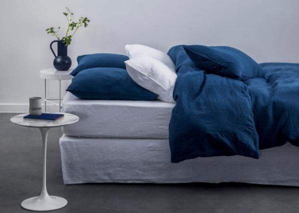 La Chambre Paris blue and white washed linen bedding set