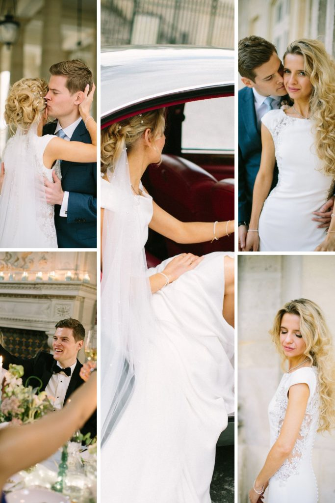 A Magical & Intimate Weekend At Château de la Brévière Collage of Bride and Groom