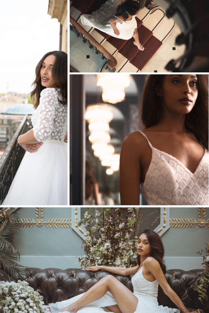 Cosmopolitan Bride In Bordeaux Collage of bride in various poses