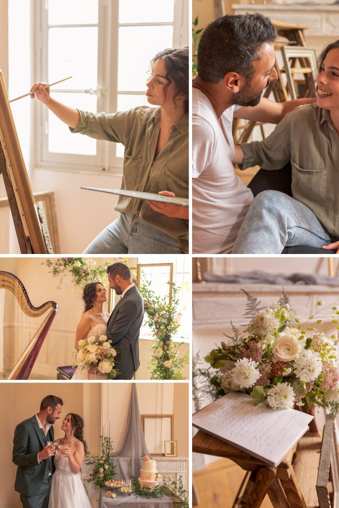 Whimsical Watercolour-Inspired Wedding Collage of Images of Bride and Groom